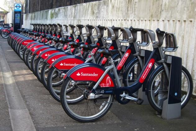 Photograph of a rack of Santander bicycles in London