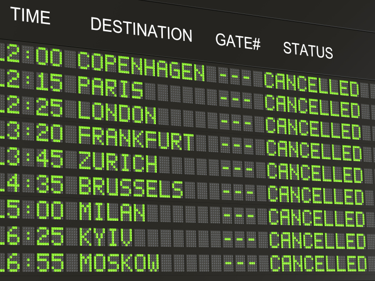 Image of an airport departure board