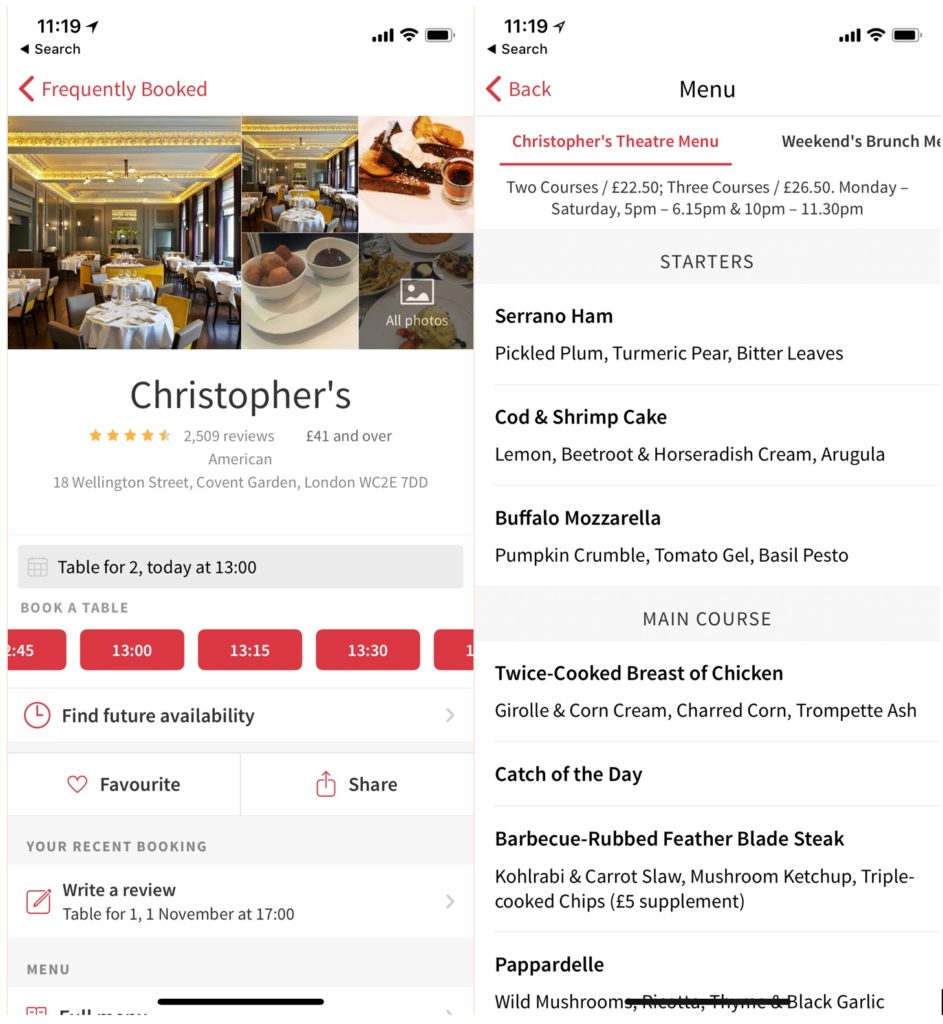 Screenshot from the Opentable app for London