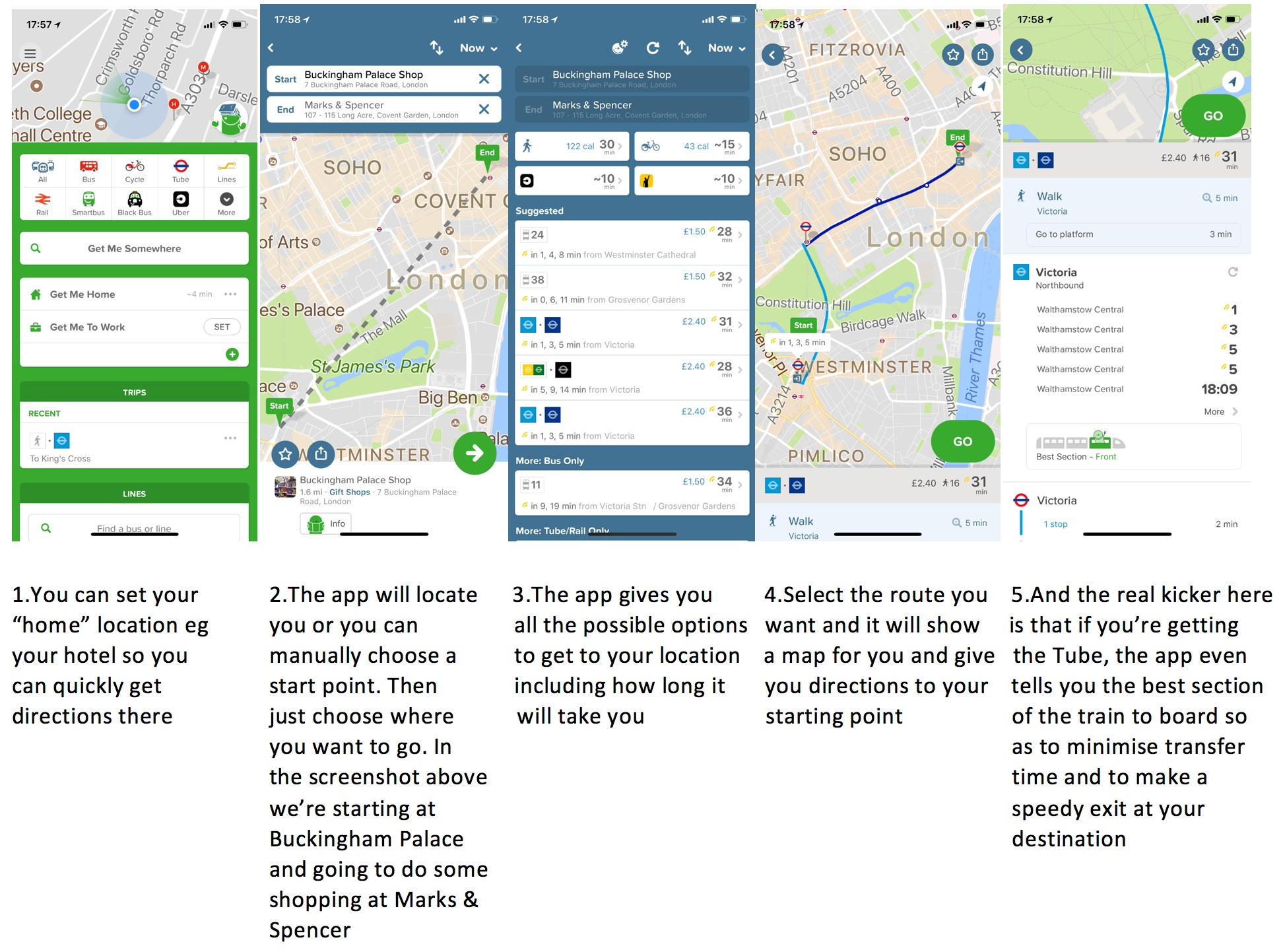 annotated screenshot from the citymapper app for london