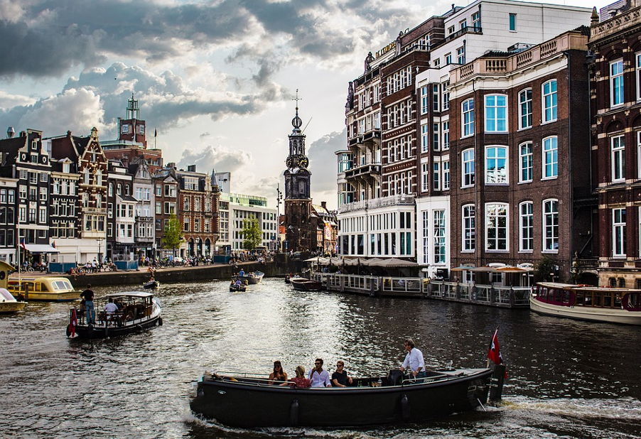 Photo of water canals in Amsterdam.